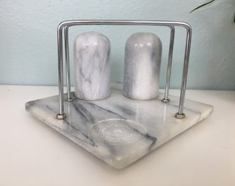 Vintage White Marble Napkin Holder and Salt and Pepper Shaker