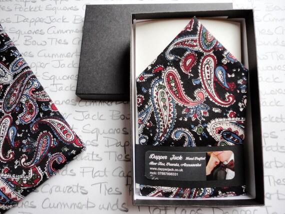 Pocket Square, black paisley pocket square, pocket handkerchief