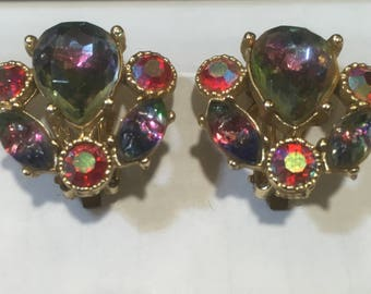Vintage aurora borealis clip on earrings, rainbow clip on earrings