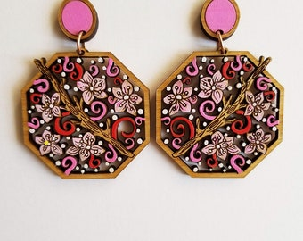 Cherry Blossom Earrings, Pink and Red Statement Earrings, Pink Statement Earrings, Unique dangle earrings