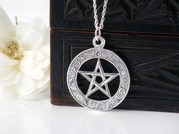 1901 Edwardian Pentacle Medallion | Antique Pendant, Hand Chased Sterling Silver Pentagram, Pentangle Medal - 24 Inch Sterling Chain