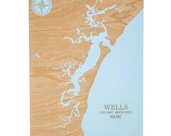 Wells Chart - 18x24 | Wells Beach Chart | Wood Wall Art | Nautical Decor | Wells Beach Maine | Maine Gifts | Made in Maine