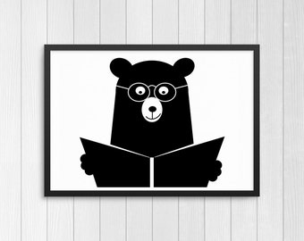 Bear reading a book | Scandi style | Monochrome | Nursery and kids room | Digital download