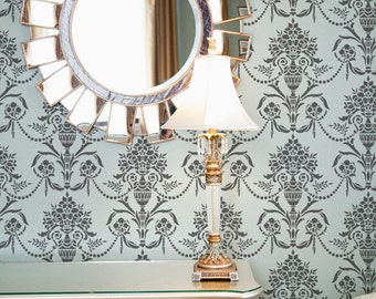 Classic Floral Damask Wallpaper Wall Stencil - Vintage, Victorian, European Wall Art Mural in Dining Room or Living Room