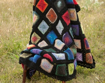 Afghan  in Rainbow wool granny squares, wool granny square blanket