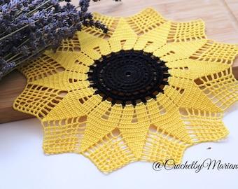 Sunflower doily,crochet doily, Handmade crochet, crochet lace doily, Crochet table decoration, Crochet placemat, crochet item, yellow doily