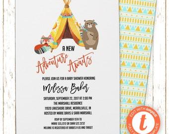 Tribal Invitation | Baby Shower | Printable Editable Digital PDF File | Templett | BSI366DIY