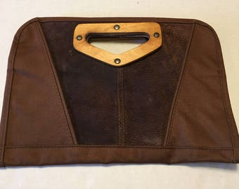 Vintage Canvas and Suede Clutch Purse With Wooden Handle