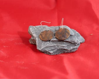 Copper Etched Earrings (082017-037)