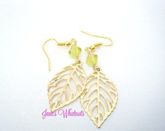 Gold color leaf earrings, drop earrings, filigree earrings, E533