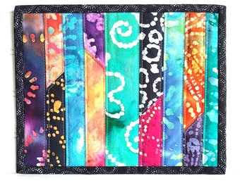Batik Fabric Mug Rug, Colorful Candle Mat, Snack Mat