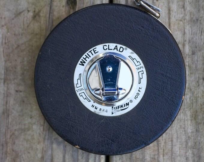 Vintage Lufkin White Clad 100 foot steel tape