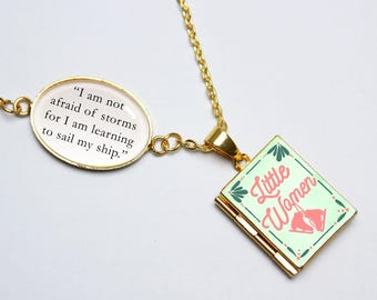 Little Women Book Quote and Locket Charm. Not Afraid Of Storms. Jo March. Feminist Necklace. Louisa May Alcott Literary Gift. Locket Library