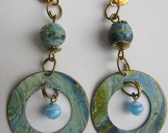 Vintage Upcycled Brutalist Enamel Turquoise Blue Marbleized on Copper with GP Leverback Earrings