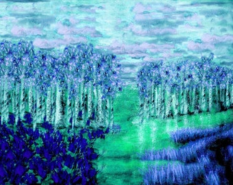 impressionistic painting, van gogh like, modern landscape, BLUEVILLE landscape impressionism painting, blue and green wall art