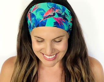 Yoga Headband - Workout Headband - Fitness Headband - Running Headband - Fiji Tiki Print - Boho Wide Headband