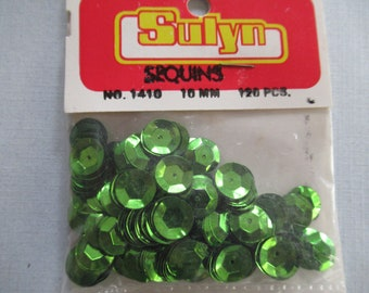 Green sequins ,semi cupped ,green sequins, 10 mm sequins, green sequins, vintage sequins,