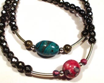 Couple bracelets you & me Agate Jasper 925 sterling silver Pyrite, Hematite bracelets for him and her