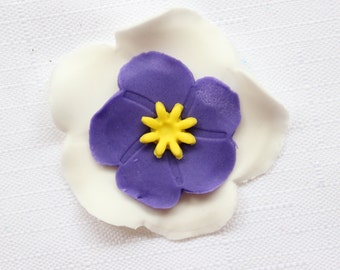 violet fondant flowers 12pcs violets edible fondant Flowers cupcake toppers, edible flowers cake decoration, Easter poppy poppies