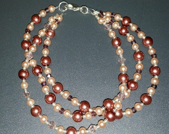 Triple Strand Glass Pearls and Swarovski Crystals Bracelet