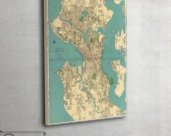 "Seattle city map, Vintage Wall map, Washington - Ready To Hang, large art print up to 42"" x 56"" - 105"