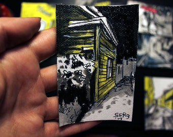 Mini ink painting on canvas 3,5x2,5in art card -  Oru street in Tartu