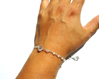 Minimal, Quartz, Sterling Silver Bracelet, Moonstone, Crystal Quartz, Gemstone Bracelet, Dainty Bracelet, Quartz Bracelet, Sterling Silver