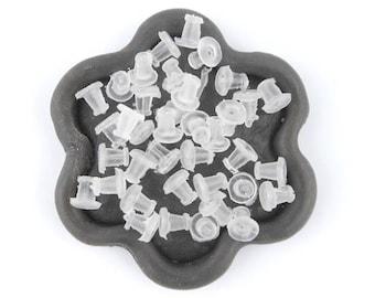 x 100 end caps earrings transparent 5mm (03E)