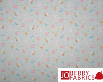 Insects and Bunnies Fabric, Sweet Dreams by AE Nathan, Quilt or Craft Fabric, Fabric by the Yard