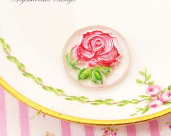 Vintage Chic Pink Rose Intaglio Cameo, Reversed Carved Hand Painted Glass Cabochon 18mm Round - 2