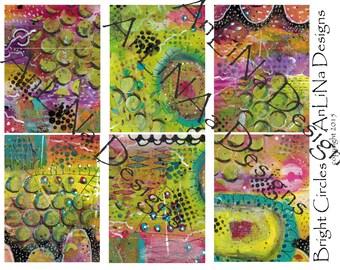 Bright Circles Printable Art Journal Cards, 3x4, Digital Download