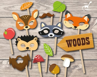Woodland Animals Fall Autumn Photo Booth Props for Fall Autumn Party, Woodland photo booth props, Woodland masks, Woodland party printables