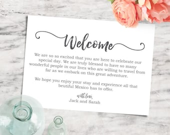 Printable Editable 5x7 Welcome Note, Destination Wedding Welcome Card - INSTANT DOWNLOAD