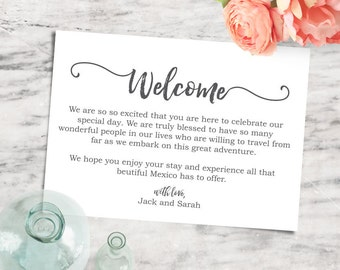 Wedding Welcome Note Tag