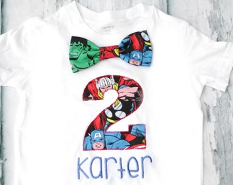 Boy second birthday Marvel themed 2nd birthday shirt Toddler boy second birthday Hulk T-Shirt Bow tie Boy number 2 Captain America Shirt