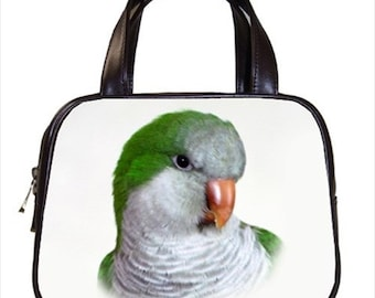 Chic Green Quaker Bird 2-Sided Parrot Handbag Purse Ladies Bag Leather