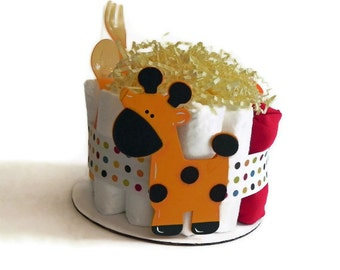 Giraffe Diaper Cake - One Tier  Baby Shower gift or centerpiece jungle neutral animal boy girl red yellow
