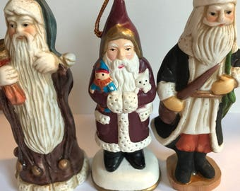 Santa Claus Ornaments Set of Three
