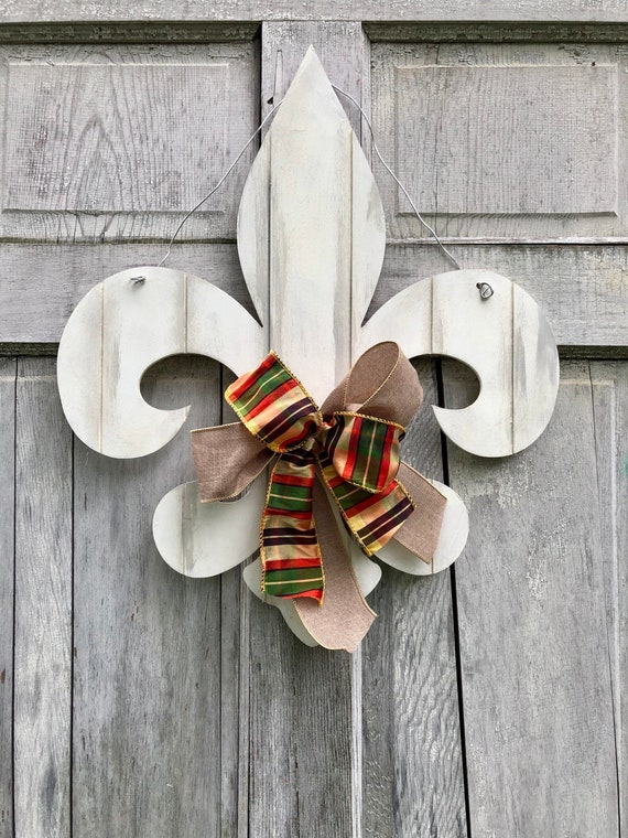 Fall Fleur de Lis door hanger, farmhouse fleur de lis door hanger, Louisville door hanger, Home welcome sign, Fleur de lis sign, autumn door