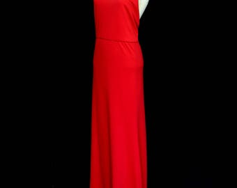 Red Halter Backless Maxi Dress by Alexandra King - Made to Order