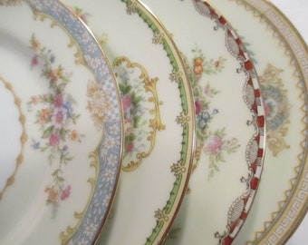 Vintage Mismatched China Dessert Plates, Bread Plates for Farmhouse, Cottage Chic, Shabby,Tea Party, Bridal Luncheon, Hostess Gift -Set of 4