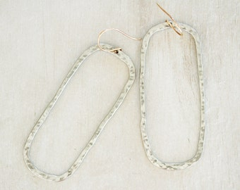 Silver Rectangle Hoops / Organically Shaped and Hammered Hoop / Bold Earrings / Everyday Wearable Jewelry