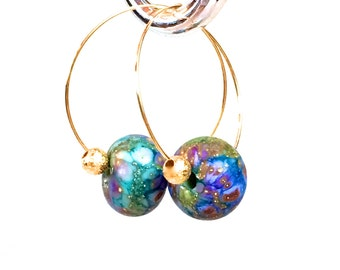 Delicate Hoop Earrings, gold hoop rainbow earrings lamp work glass bead earrings bohemian jewelry gift for women mom girlfriend lgbt