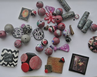 set of 30 polymer clay beads