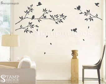Tree Branch Wall Decal with Leaves - Vinyl Wall Art - K021