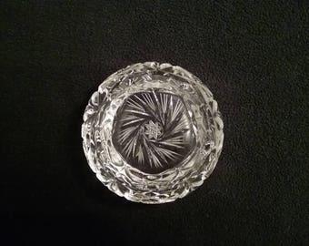 Vintage Crystal Ashtray - Pinwheel Pattern
