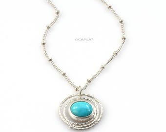 Turquoise Circle Necklace