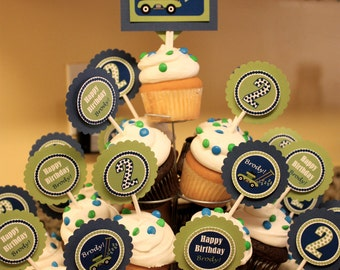Personalized Lawn Mower Cupcake Toppers