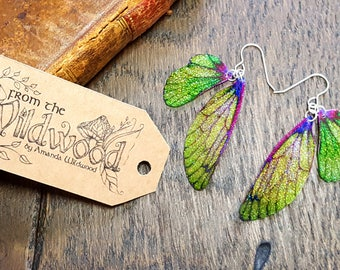 Green and Purple Sparkle Fairy Wing Earrings. Medium iridescent sparkle faerie wings. Sterling silver ear wires. Magical faery fae jewellery