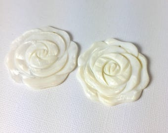 Mother of Pearl White Carved Rose Pendant Duo
